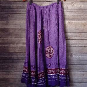 Purple Hippie Boho Mandala Maxi Skirt White Stag